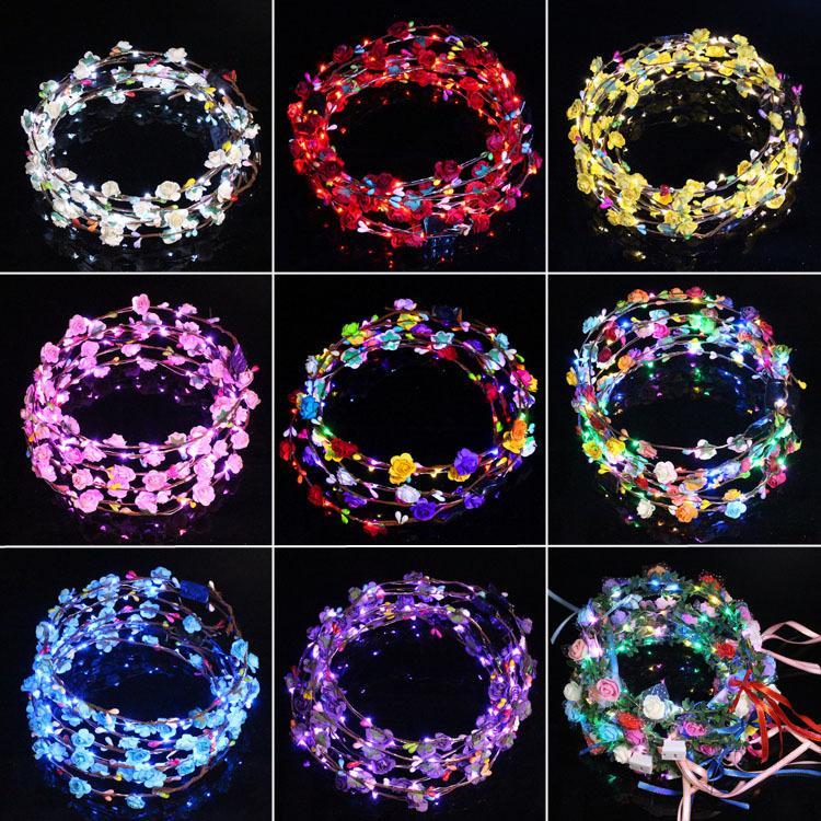 Couronnes lumineuses LED Vêtements de tête Fleur brillant bandeau Couronne Couronne Accessoires pour les cheveux pour les enfants d'anniversaire de princesse DHE3424