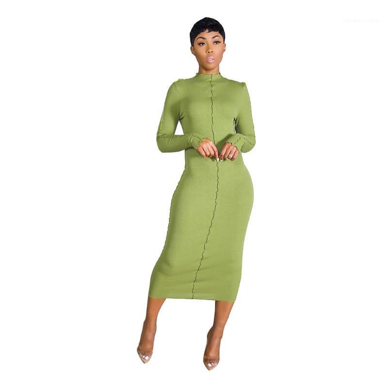 Bydcon robes slim designer femmes manches longues sexy soild couleur femme robes de cou décontracté col