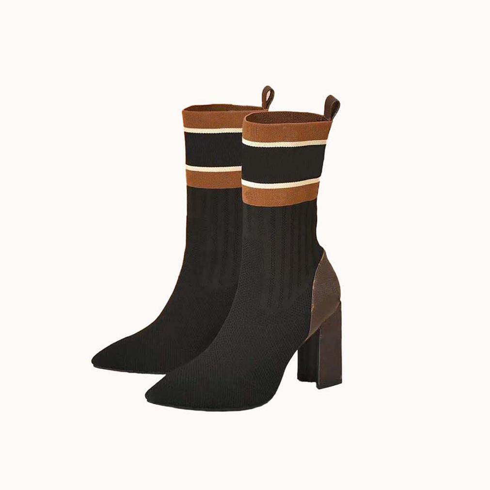 2021 Venta Bien de moda Mujeres Medio Botas Cuero genuino Cuero de tela de algodón Cabeza redonda Caja Midual Boot para botas de vaquero Home011 04