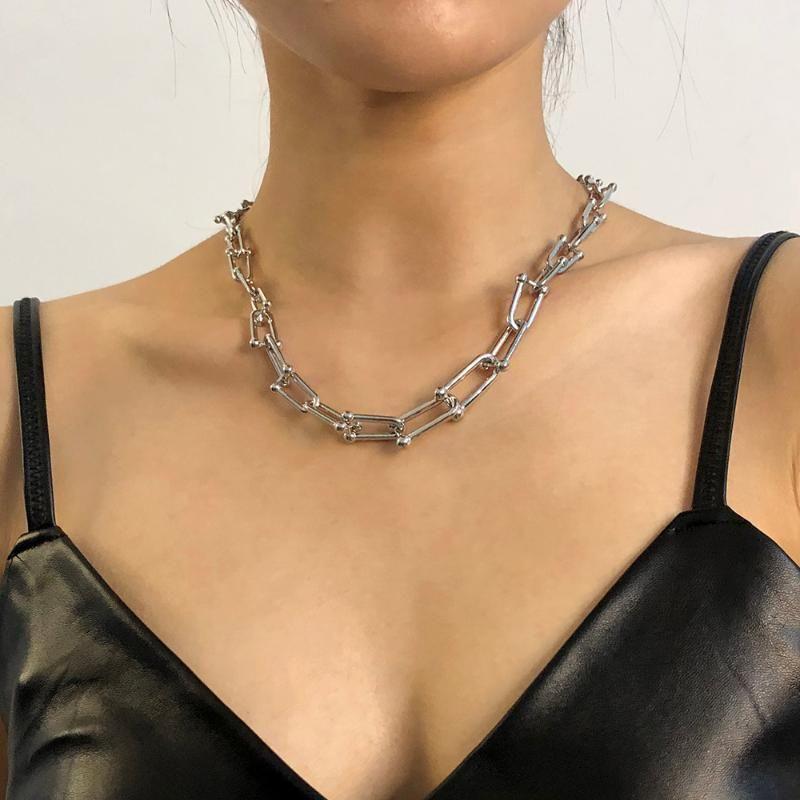 Цепи Lalynnly Goth Cuban Gold Silver Color Colulsy Chain Good Cnaced Ожерелье для женщин Минималистские шеи Ювелирные Изделия 2021 N7964