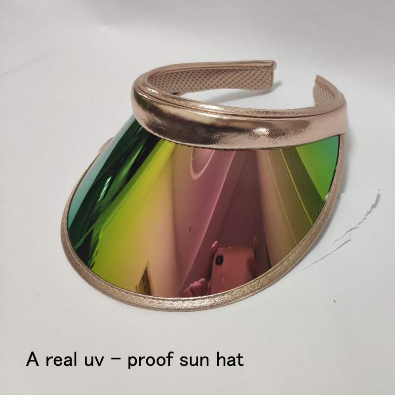 2021 NOUVEAU ÉTÉ SUMENT FEMMES Hommes Chapeau Soleil Couleur Couleur Transparente Vide Top Plastique PVC JA chapeau de chapeau de chapeau de chapeau de pare-soleil Visière Casquettes Vélo Sun