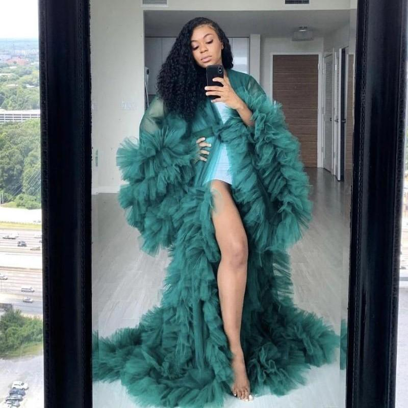 Moda Ruffles Tulle Kimono Vestido de noche Robe Extra Puffy Party Party Dresses Puffy Mangas African Cape Cloak Vestidos embarazadas