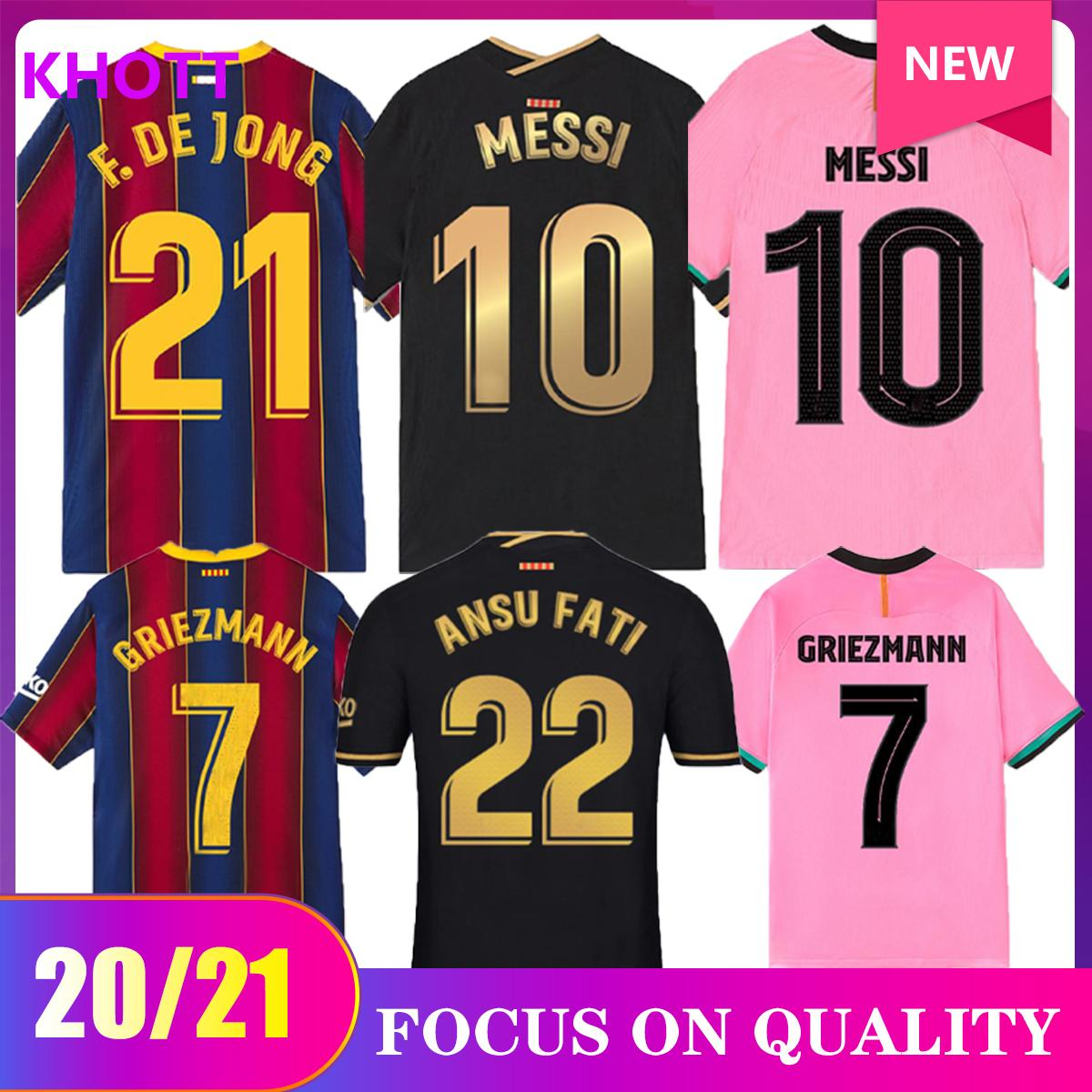 Nuovo 20 21 Jersey di calcio F.DE Jong 17 Griezmann 2020 2021 Coutinho Suarez Malcom Pique Vidal Camicie da calcio di Bacelona