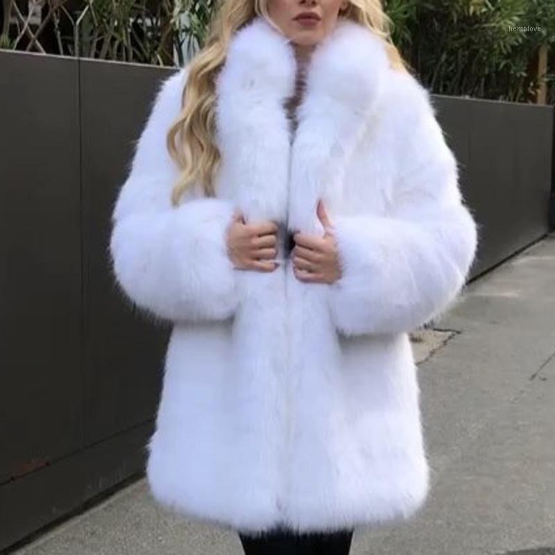 Nouveau automne hiver mode fausse fourrure manteau de fourrure de fourrure de fourrure de fourrure 2020 femmes chaude fausse robe collier veste femme vêtements blanc1