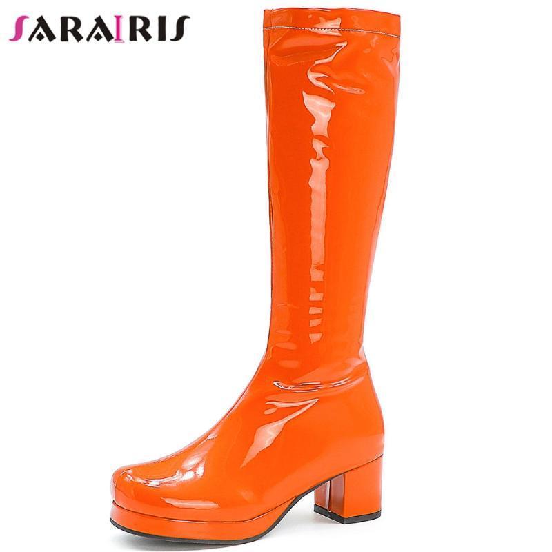 SaraIris New Unique bonbons robe couleur Bottes Marque bout rond plateforme à mi-mollet Bottes Femmes Med Chunky Talons Chaussures Femme