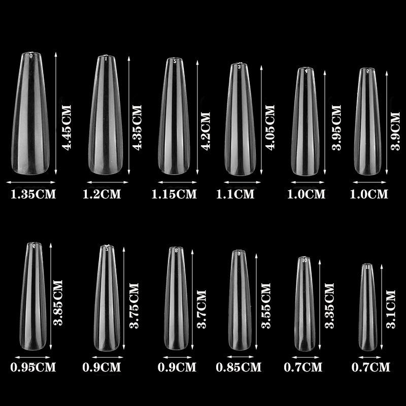 600 adet / torba Akrilik Yanlış Ekstra Uzun Balerin Tabut Tırnak Sahte İpuçları Temizle Doğal Beyaz Basın Çivi UV Jel Lehçe