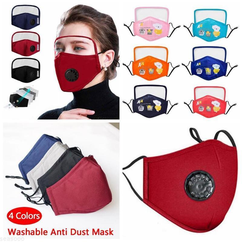 Cara en stock con niños algodón PM2.5 Gafas lavables Máscara anti-polvo Colorida tela no tejida Niños Paño Ciclismo Máscaras