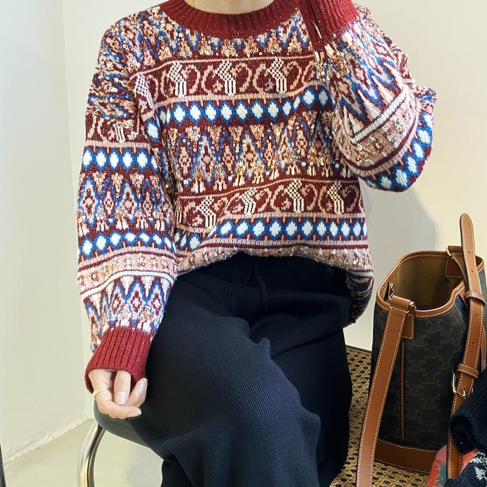 Новые женские рождественские круглые шеи свободные наружные носить ленивый стиль верхний вязаный свитер 2020 зима Nordic LL9272