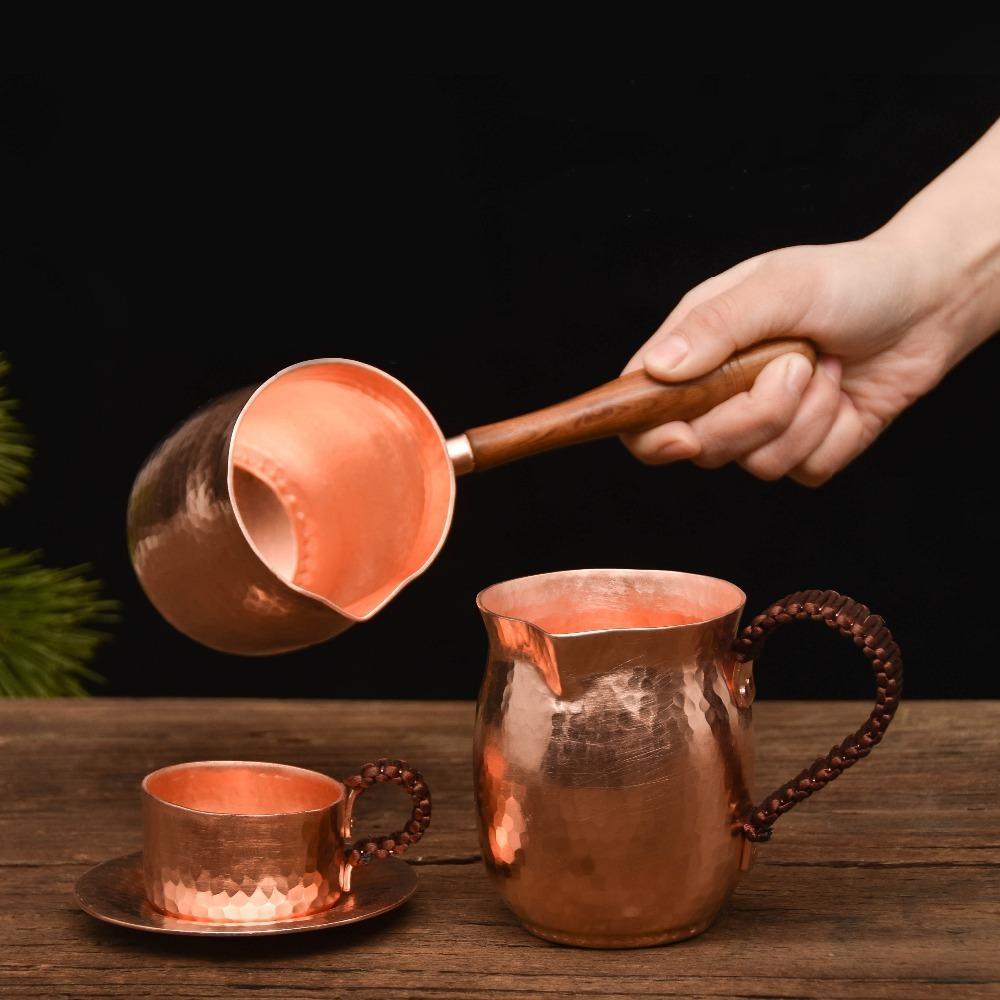 Feic Pure Pure Rame Fabbricata a mano Set da tè Turco Pentola arabo con manico in legno Macchina da caffè Ibrik per Barista