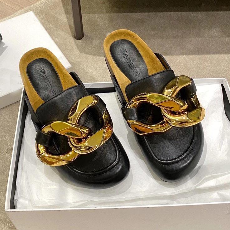 Marka Yeni JA Londra Kadın Süet Loafer Mules Rahat Patik Ahşap Düz Topuk Slaytlar Büyük Zincir Terlik Hakiki Deri Luxurys Tasarımcılar Ayakkabı