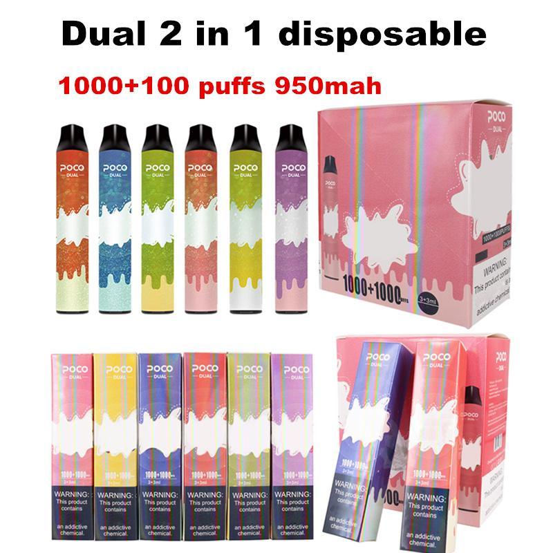 POCO 듀얼 2 in 1 일회용 vape 키트 950mAh 배터리 1000 + 1000 퍼프 3 + 3ml 프리 쿼리 포드 전자 담배 키트 vs 퍼프 바 퍼프 플러스