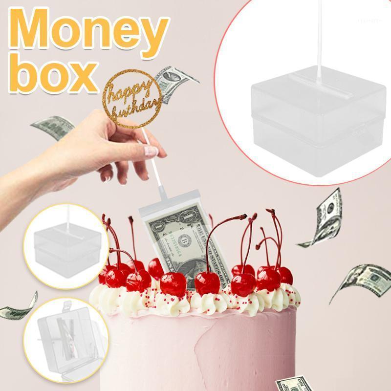 هدية التفاف رسم المال مربع الديكور كعكة العضو المغلف الأحمر لسحب قطعة أثرية 11x11x7cm مع 20 قطعة جيوب الشريط على الوجهين 1