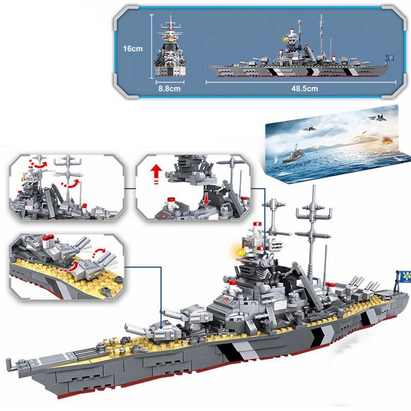 Guerra mondiale militare 2 Battleship Waship German Soldier Armi Armi Navy Sottomarino Set di sottomarini WW2 Building Blocks Giocattolo educativo Gift per bambini LJ200930