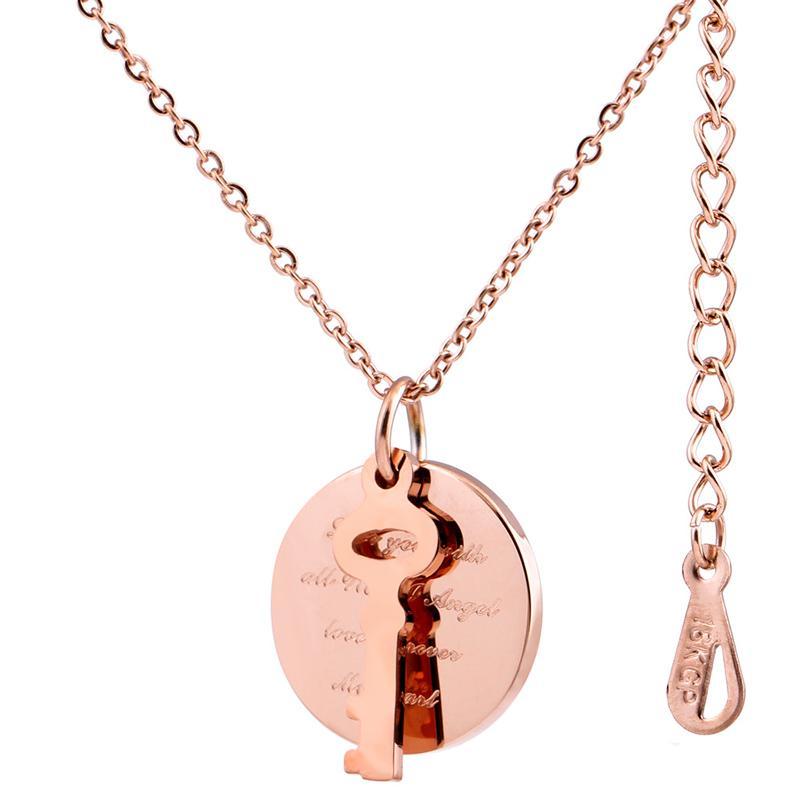 moda rosa in acciaio inossidabile placcata oro pendenti chiave fascini ragazze collana all'ingrosso