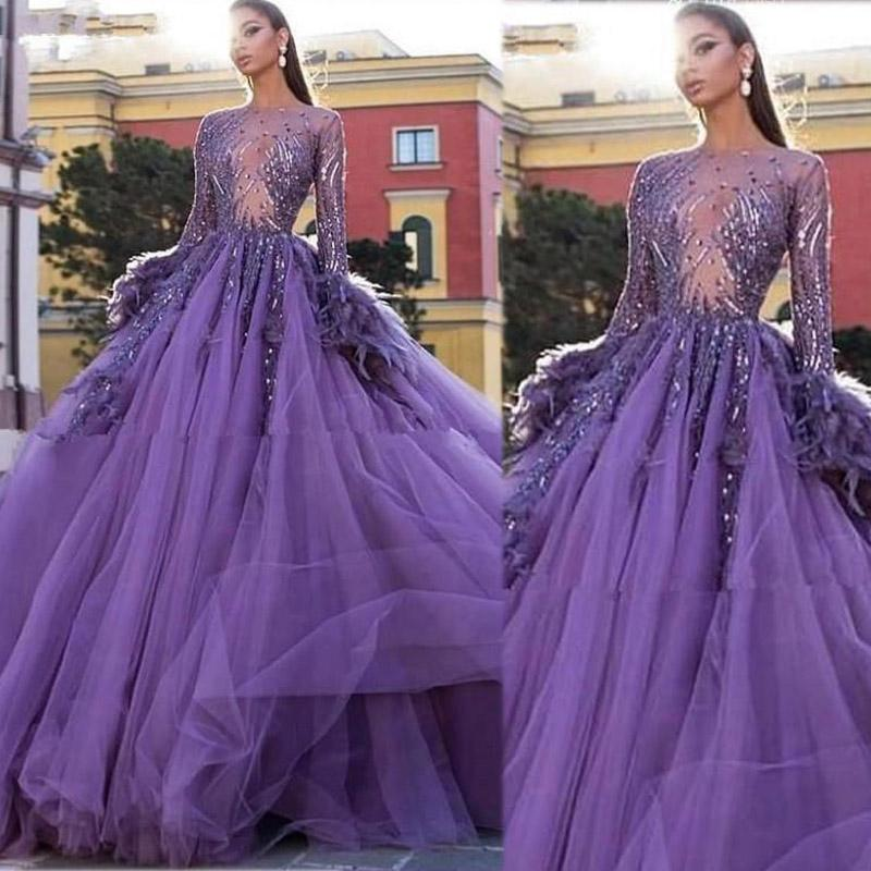 Arabic Purple Ball Gown Evening Dresses Long Sleeves Women Feather Prom Dress Tulle Puffy Sweet 16 Quinceanera Gowns