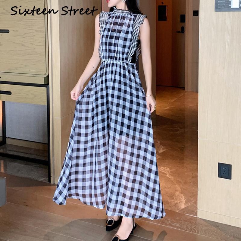 GELİŞMİŞ YENİ Şifon Ladies'plaid Kolsuz Boyun Casual Sokak Outsize Uzun Kadın Slia Yaz Elbise 964A