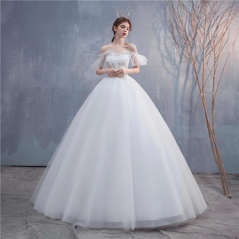 Vestidos de Novia 2021 Neue sexy Bootshals Perlen Glanz billig Hochzeitskleid für Frauen Blume Applique Custom Made Braut Kleid # 2c67
