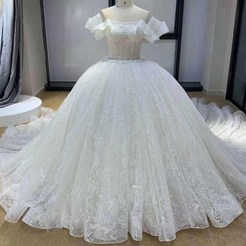 2021 princesa vestido de bola vestidos de novia fuera del hombro encaje lleno volantes lentejuelas corsé trasero tren trenes vestidos nupciales vestido de matrimonio