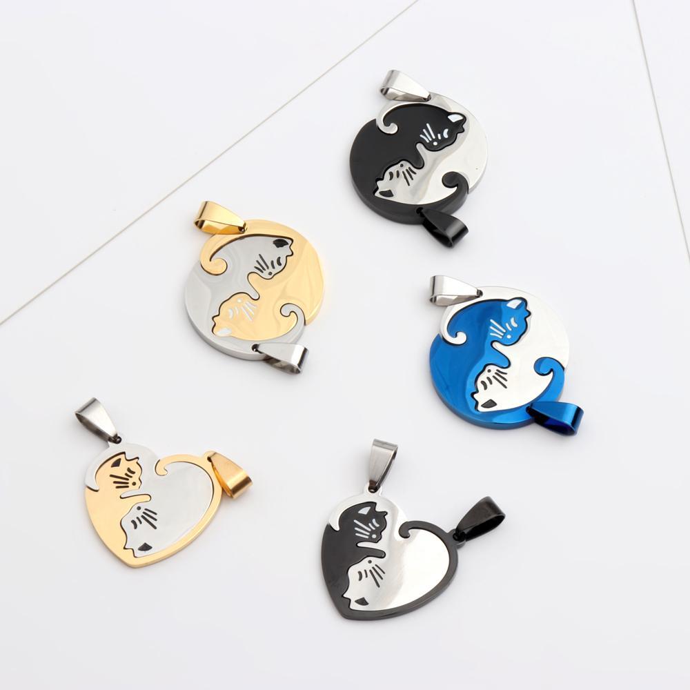 Blaue Schwarz Gold Farbe Edelstahl Paare Paar Katze Anhänger Halskette Geschenk Schmuck für Mädchen Jungen
