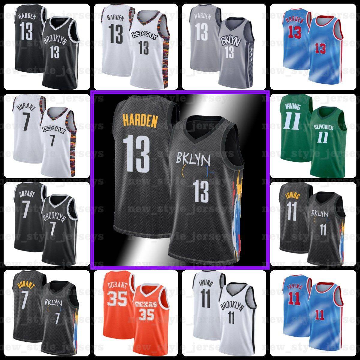 13 Harden 7 كيفن 11 Kyrie Durant Irving BlackبروكلينNets Jersey Biggie Dinwiddie كلية سبنسر كرة السلة جيرسي Z2