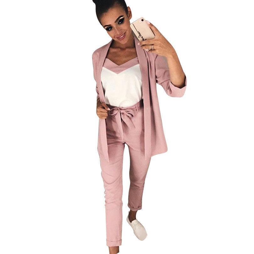 MVGIRLRU kadın Kostüm V Boyun Lace Up Belli Ince Bilezik Kol Blazer ile Kayış Yelek Pantolon Seti Kadın Pantolon Suits 201119