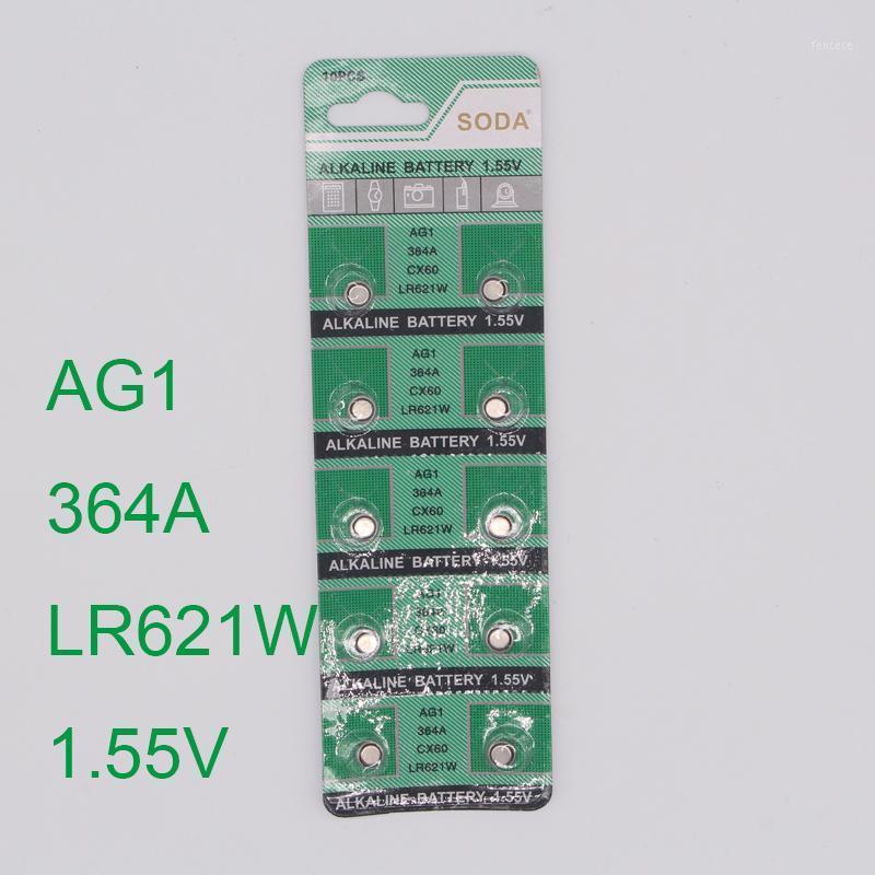 Regarder les piles en gros- 30pcs Bouton Battery AG1 364 LR621 CX60 SR621SW 1.55V Piles cellulaires alcalines Patterie Orologio1