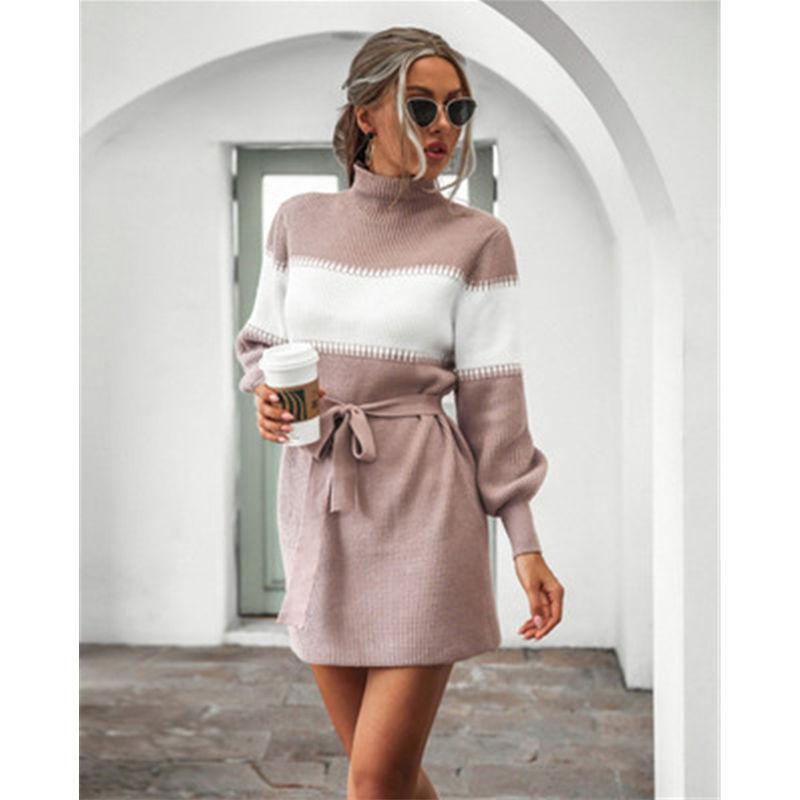 Frauen Laternenhülse Strick Pullover Kleid Mode Trend Langarm High Hals Kurzer Rock Designer Weibliche Winter Colorblocked Casual Dress