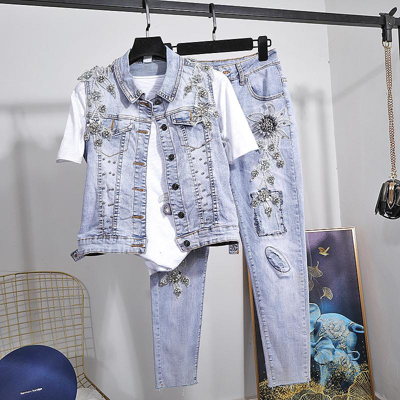 Girls 2 Piece Vest Suit Spring Summer New Three-dimensional Flower Beaded Short Coat + Elastic Jeans Womens Denim Jean Sets