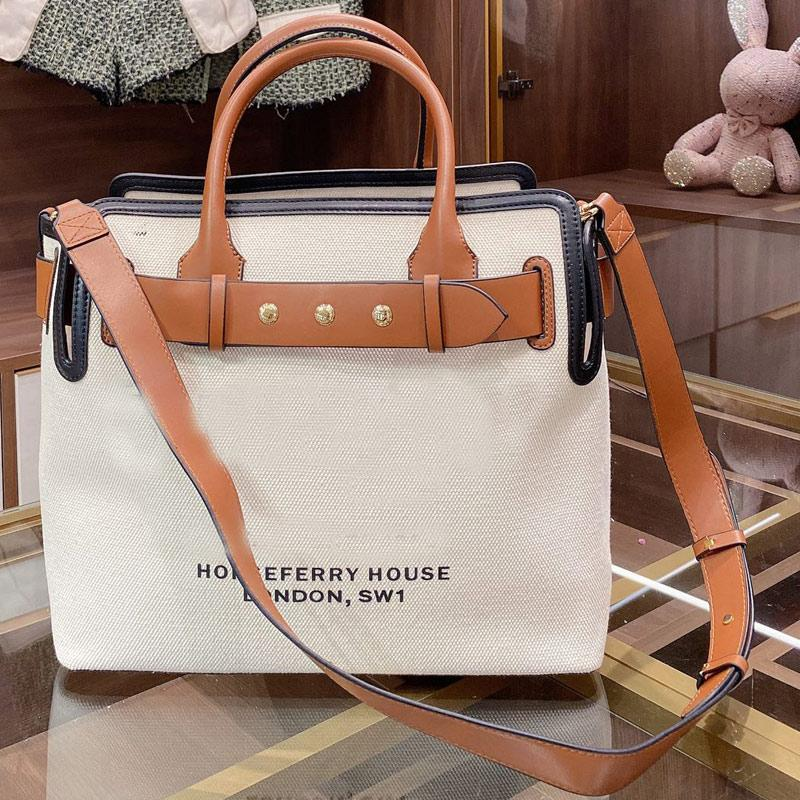 Canvas Shopping Bag Patchwork Handbag Large Capacity Package Shopping Bags Lady Tote Bag Fashion Letter Leather Handle White Shoulder Bag