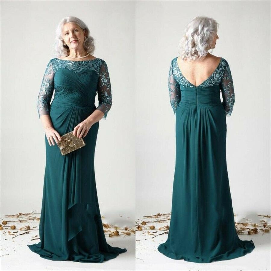 Hunter élégant Plus Taille Mère des robes de mariée Dentelle Applique de dentelle Saisinée 3/4 robes de soirée à manches longues balayage robe d'invité de mariage