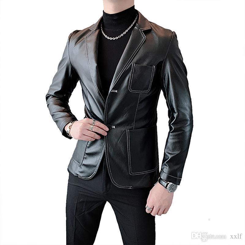 Ledermantel Britische Leder Blazer Männer Schwarz Mode Designer Jacken Blazer Homme Club Outfit Jacke Herren Mantel