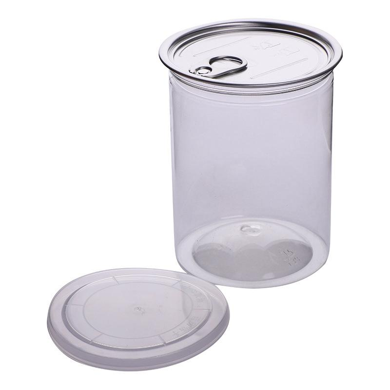 485ml 85*100mm Clear Plastic Jar PET with Pull Ring Metal Lid Airtight Tin Can Food Herb Container Package Ocean Ship HHA1702