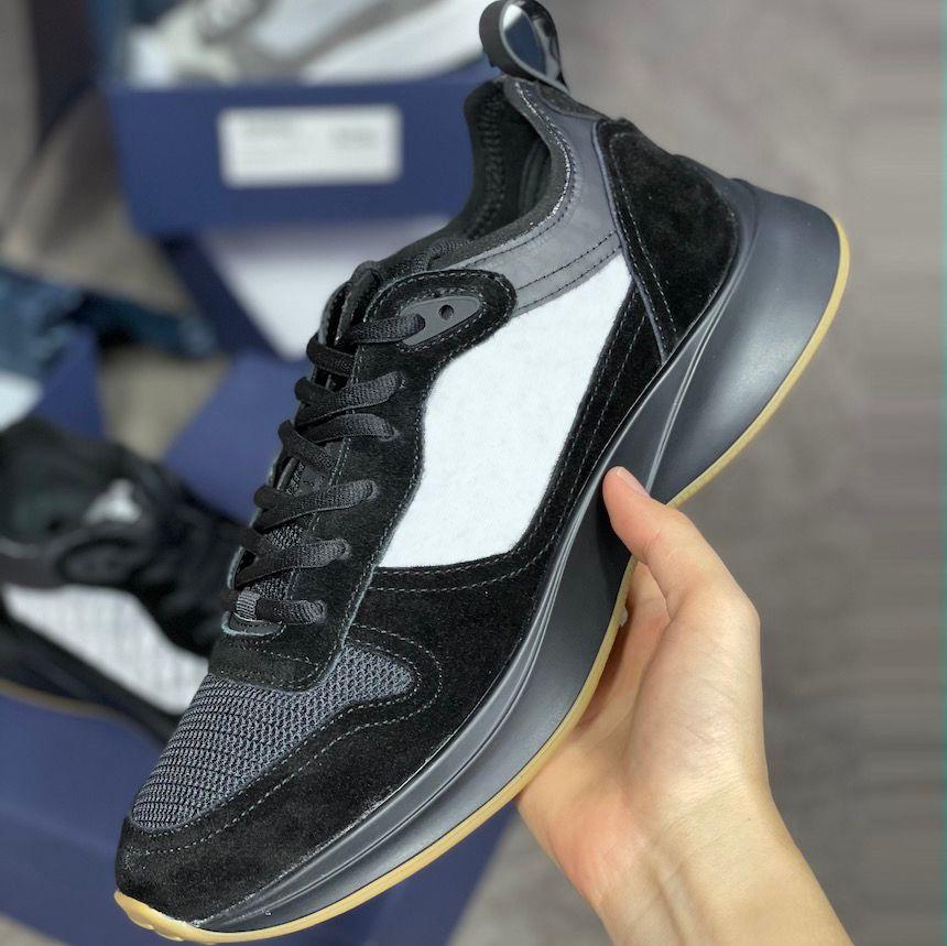Männer B25 schräg Sneaker Herren Designer Schuhe Hommes Sneaker Black Wildleder Männer Plattformschuhe 100% Echtes Leder Freizeitschuhe mit Box