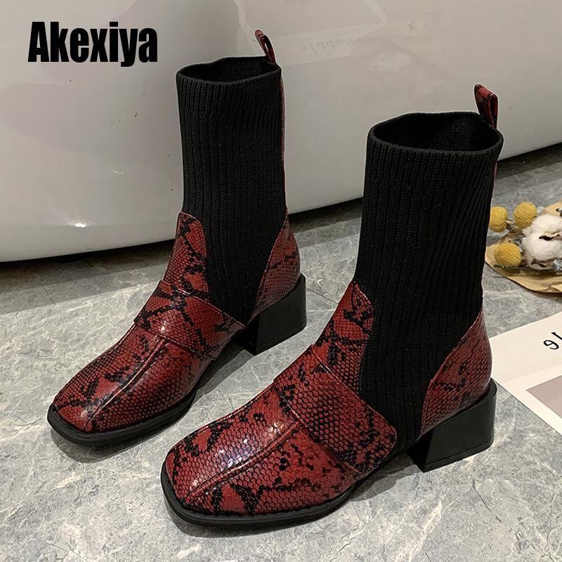 Ботинки плюс размер лодыжки для женщин платформы мода квадратная каблука серпантина ног туфли вскользь U532