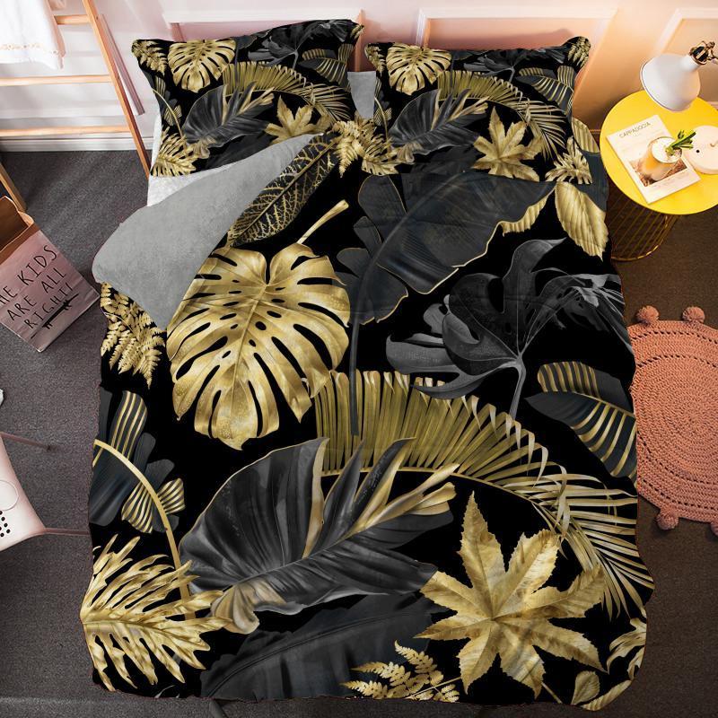 3D plantas de hojas de palma conjuntos de camas reina conjuntos de un solo king size cubiertas de edredones conjuntos de lino de cama
