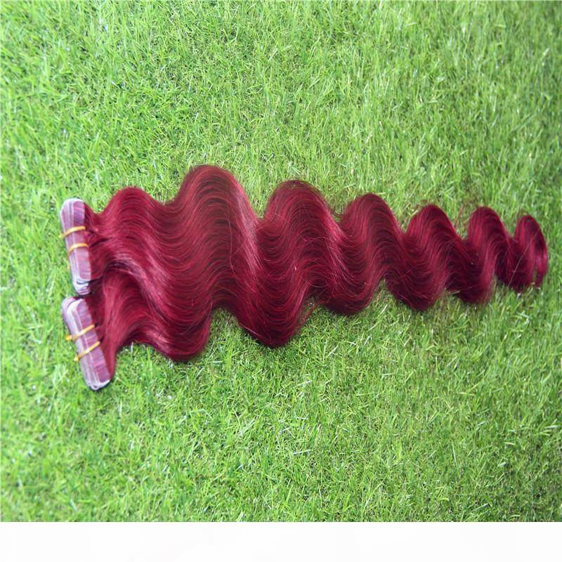 Cinta en extensiones de cabello humano onda corporal 40pcs 20 unids Remy Pein Piel Piel 10-32 pulgadas Pelo sin procesar