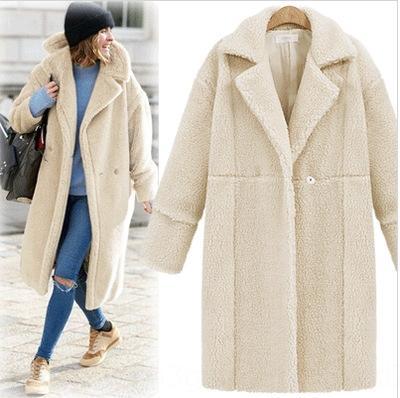 Afka inverno coleta de pescoço comprido 12 cores luva de outono 2-fileira botão lapela casaco de lã sherpa outwear OOA7193