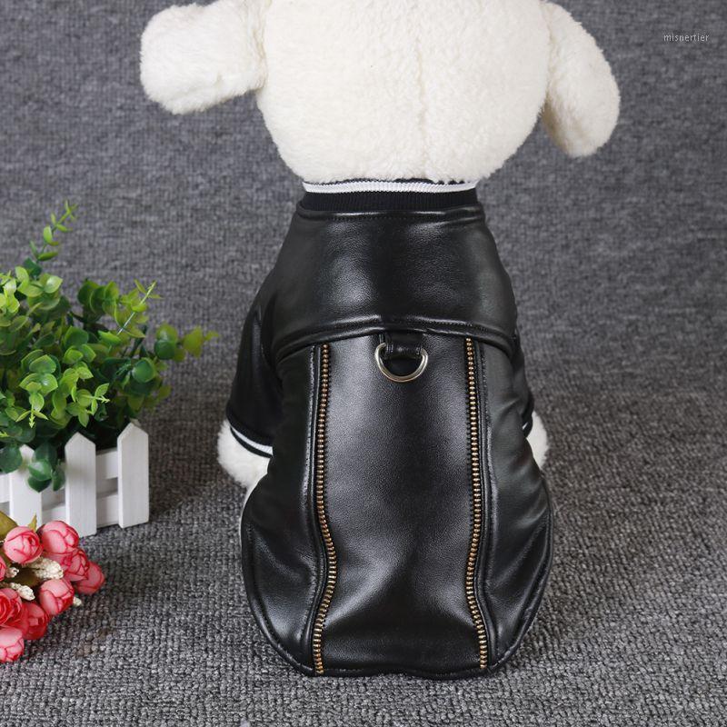 PU PET Cashmere abrigo de cuero cálido ropa para perros Disfraz de moda de perros con tracción cuerda buckle1