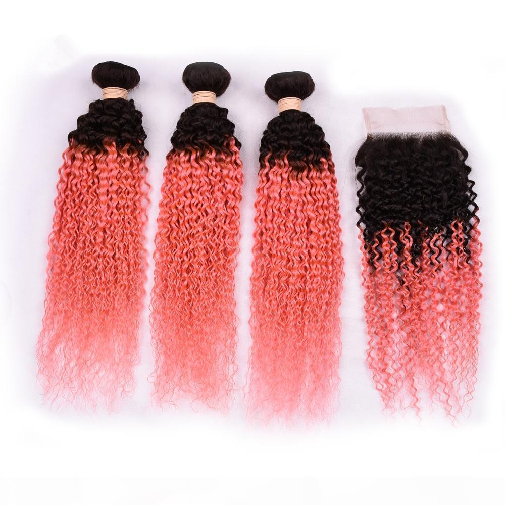 Ombre haar schuss peruaner kinky curly 1b rosa menschliche haarbündel mit 4 * 4 spitzenverschlusslänge 8 Zoll bis 30 Zoll