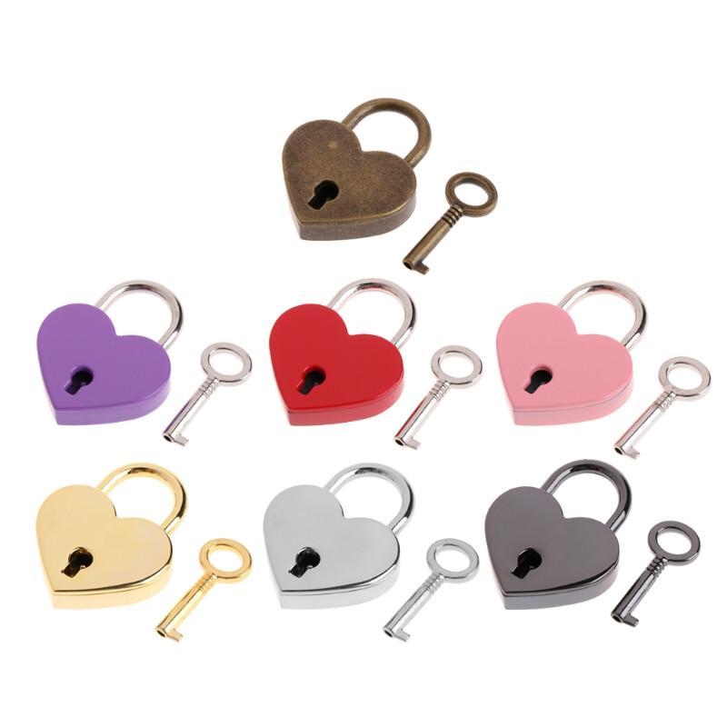 Herzförmige Vorhängeschloss Vintage Mini Liebe Vorhängeschloss mit Schlüssel für Handtasche Kleine Gepäcktasche Tagebuchbuch FFA2698-2