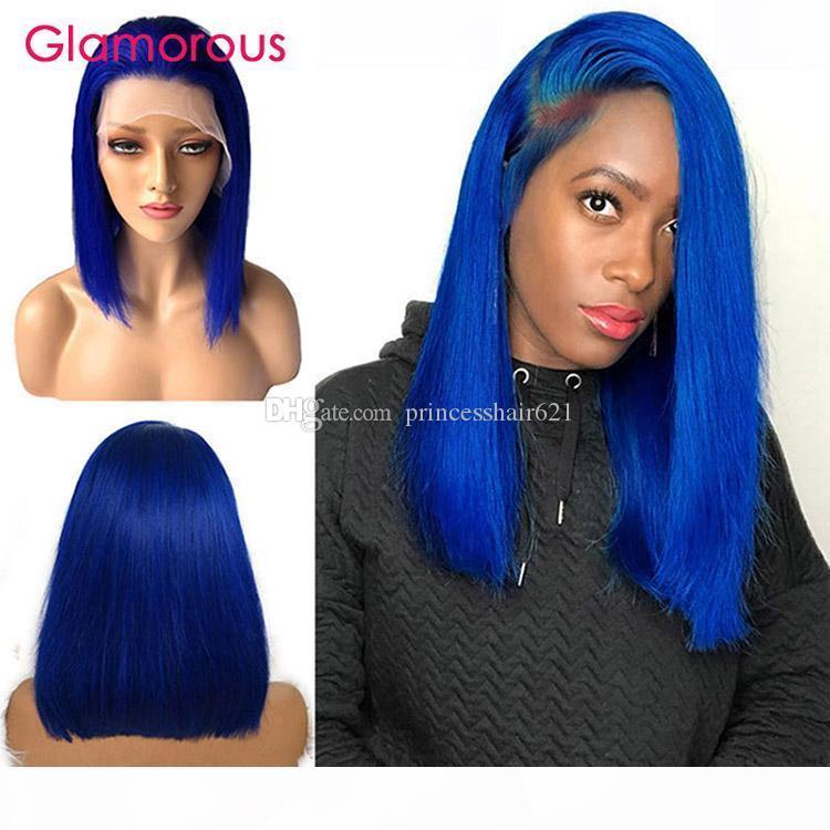 10inch 12inch Gerade kurze Bob Blaue Haare vorgefärbte blaue Spitze Frontperücken für Frauen 150% Dichte