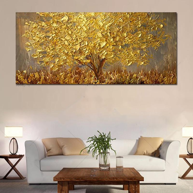 Büyük El-Boyalı Bıçak Ağaçları Yağlıboya Tuval Paleti Altın Sarı Resim Sergisi Modern Soyut Duvar Sanatı Resimleri Ev Dekor Hediyeler