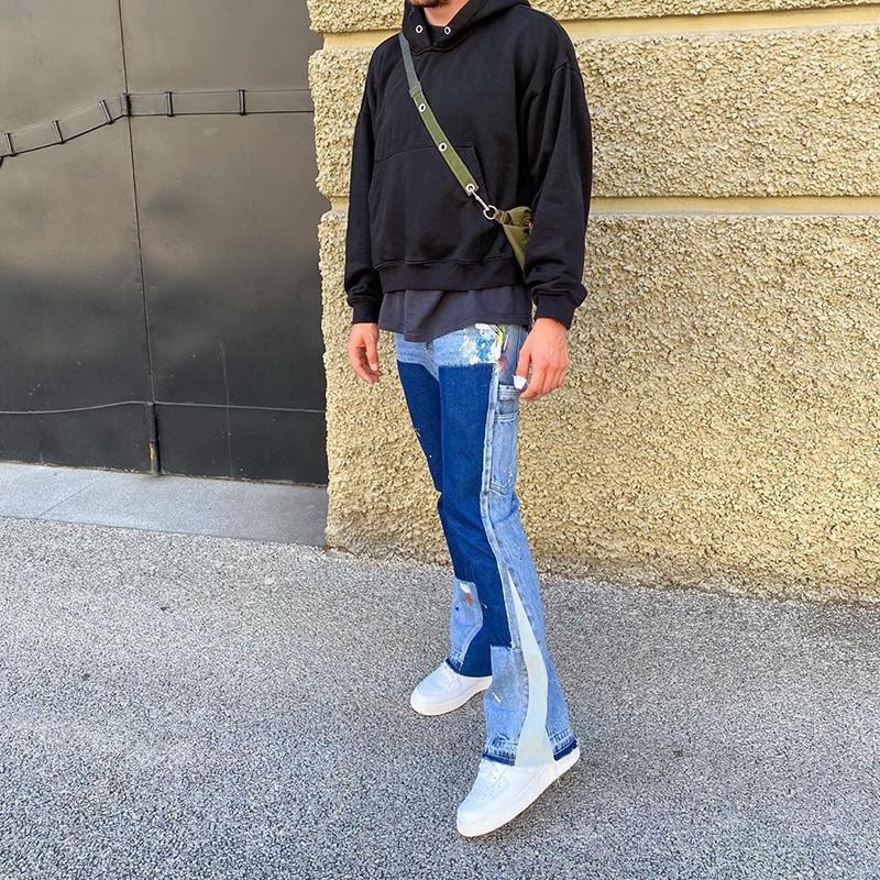 Flare Jeans Streetwear Patch Mens larga gamba Jeans Hip Hop Heavy Wash Blue Slim Fit Denim Pantaloni da uomo