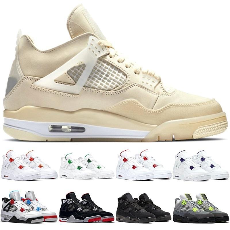 Hommes Basketball 4 Chaussures 4S Mens Said Métallique Pack Metalple Vert Red Neon Quels formateurs de chat noir élevé Sporteurs Sports Sneakers Taille 40-47