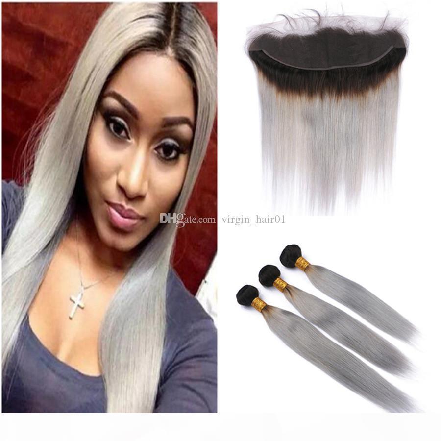 Racines sombres grises cheveux humains tisser la soie extension de cheveux droite avec la dentelle frontale vierge malaisienne cheveux humains tisse avec la dentelle frontale