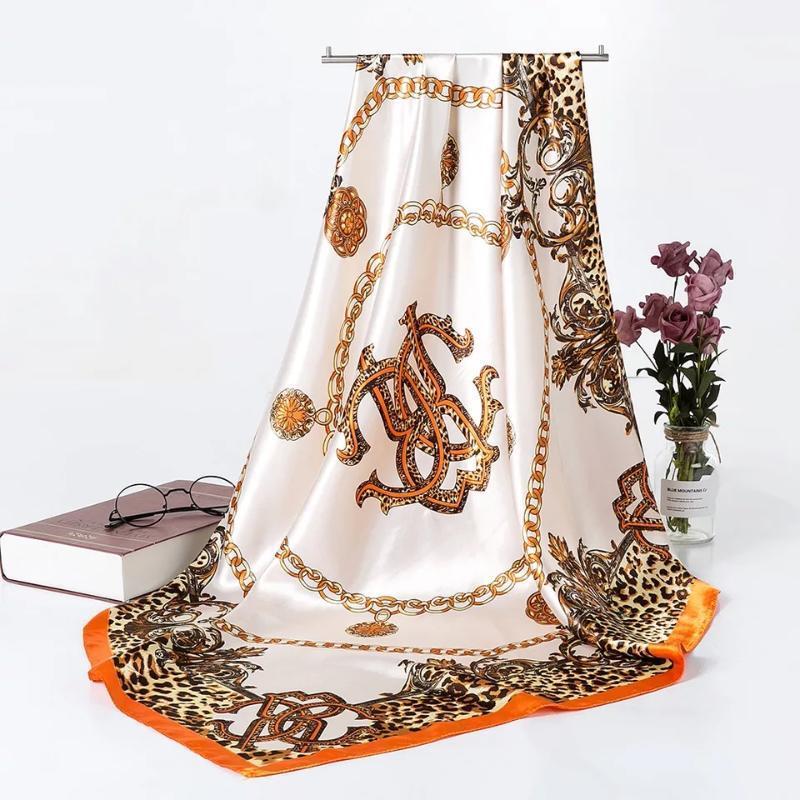 Tücher Mode für Frauen Schal Drucken Silk Satin Hijab Schal Weibliche Bandana 90 * 90 cm Quadratische Tücher Schals Damen