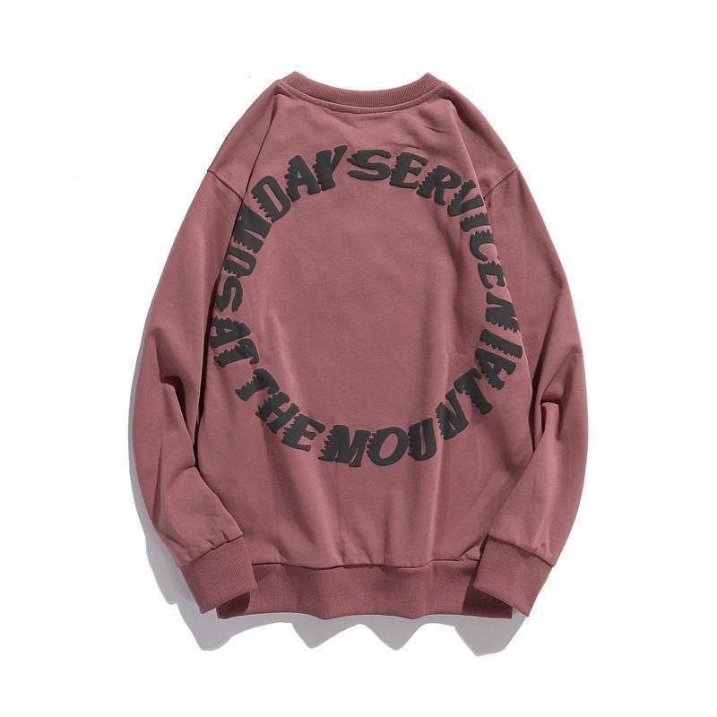 El mismo estilo de Kanye Kanye, espuma impresa de espuma de alta calle, suéter de moda, marca de moda para hombre, amantes de cuello redondo suelto