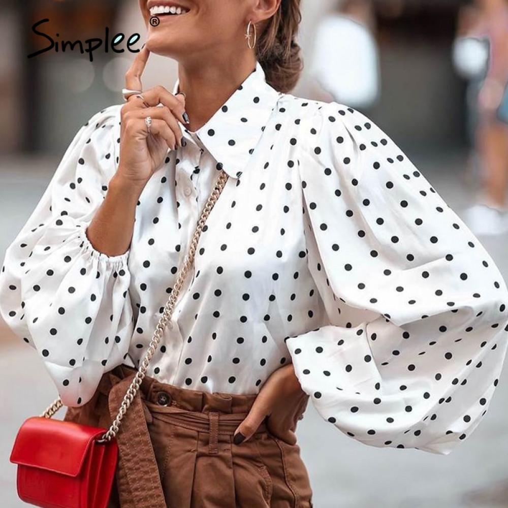 Simple Fashion Dot lâche TOP BULBLE MODEVE EN CHIFFON à manches longues à manches longues High Street Style Vapel Top Automne Hiver 201126