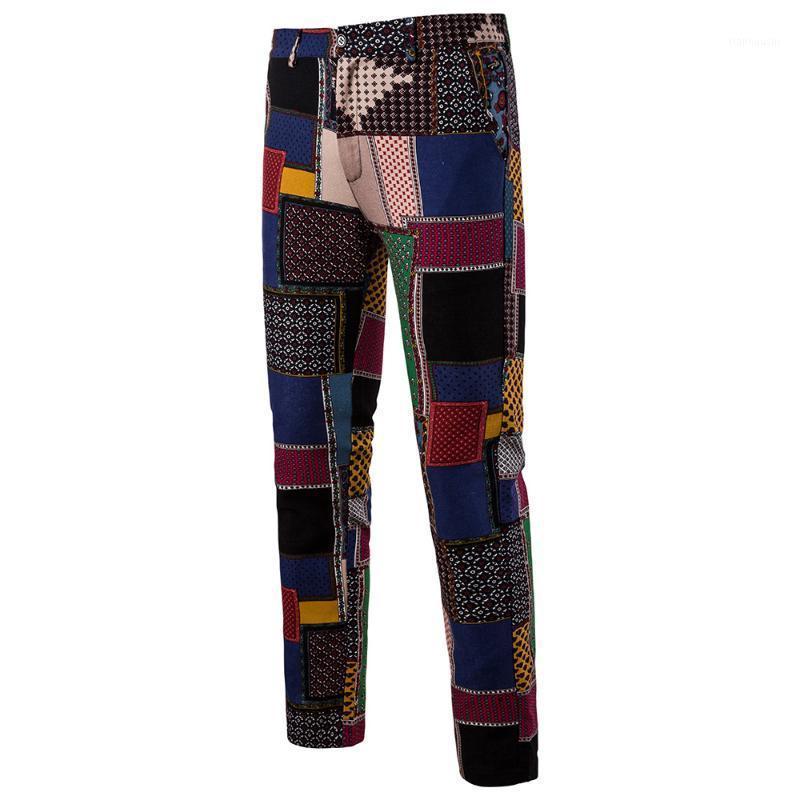 2020 Primavera e autunno Fashion New Men's Casual Suite Pantaloni / Pantaloni da uomo Slim Dritto Pantaloni floreali floreali1