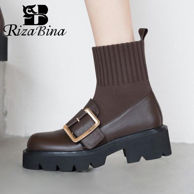 RIZABINA натуральной кожи Ins женщин Короткие сапоги пряжкой моды высокой пятки платформы зимняя обувь Женщина Разминка обувь Размер 34-39